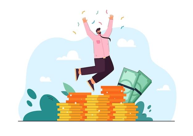 陽気な金持ちの銀行家がジャンプして貿易の成功を祝うフラットイラスト