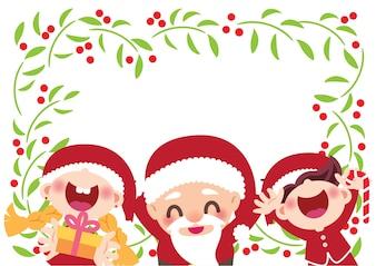 Cheerful santa claus and children
