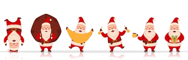 Cheerful santa claus character in different poses with heavy sack, gift box and jingle bells on white background.