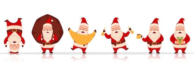 Веселый персонаж санта-клауса в разных позах с тяжелым мешком, подарочной коробкой и колокольчиками на белом фоне.
