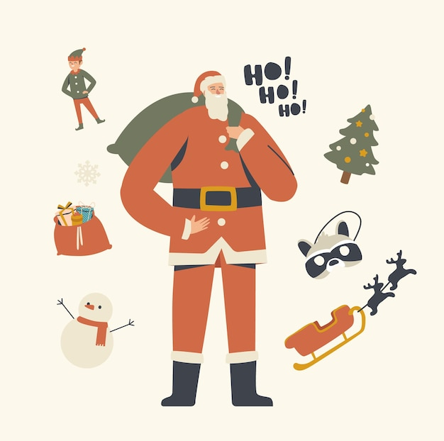 Cheerful santa claus character in red traditional costume holding sack with gifts
