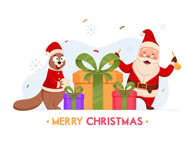 陽気なサンタクロースがメリークリスマスのギフトボックスとリス白と青の雪片の背景に鐘を保持しています。
