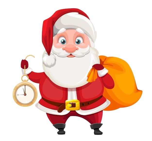 Веселый санта-клаус держит часы и мешок с подарками