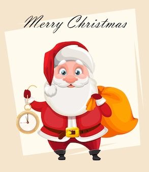 Cheerful santa claus holding clock and sack with presents