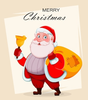 Cheerful santa claus holding hand bell and sack with presents