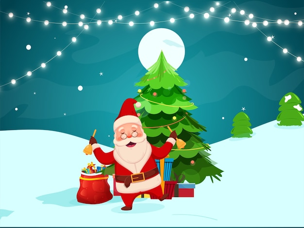 Cheerful santa claus holding jingle bells with xmas trees
