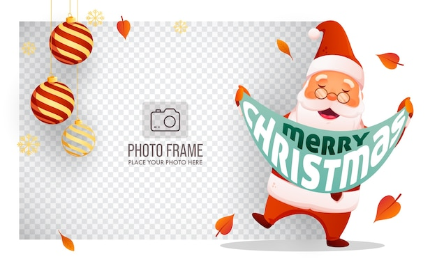 Cheerful santa claus holding a message ribbon of merry christmas