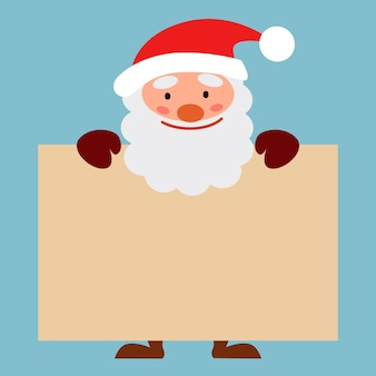 Cheerful santa claus holds a sign for the text. vector illustration in a flat style.