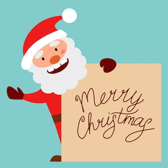 Cheerful santa claus holds a sign for the text and waves his hand