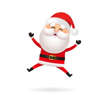 Cheerful santa claus jumping