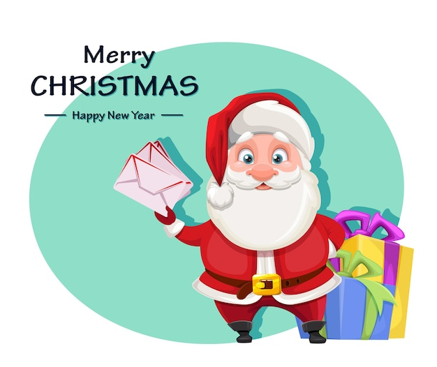Cheerful santa claus preparing presents for kids