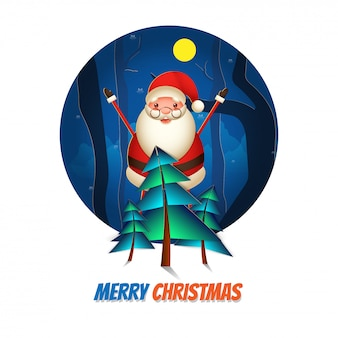 Cheerful santa claus raising hands up with paper cut xmas tree on full moon nature view  for merry christmas celebration greeting card .