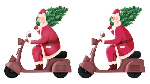 木と陽気なサンタクロース乗馬スクーター
