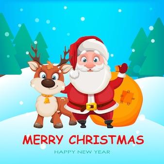 Cheerful santa claus standing with cute deer