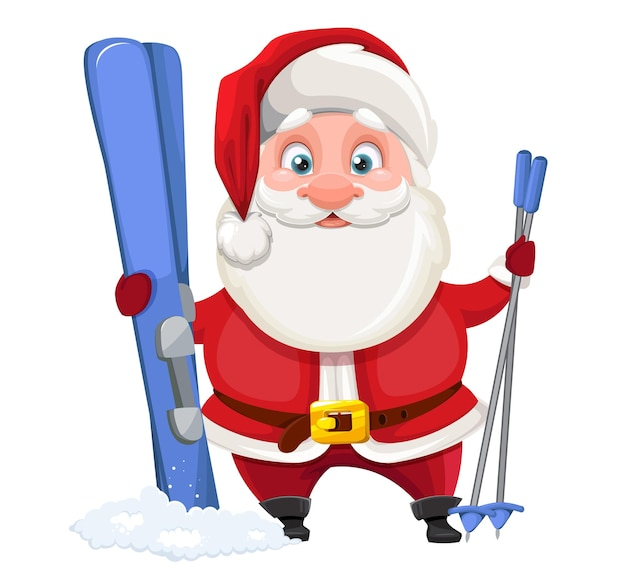 Cheerful santa claus standing with skis isolated on white