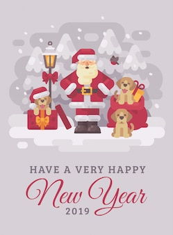 Cheerful santa claus with cute puppies christmas greeting card flat illustration. happy ne
