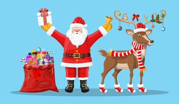 Cheerful santa claus with gift bag and reindeer
