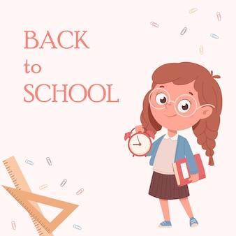 Веселая школьница держит книгу и часы милый мультипликационный персонаж обратно в школу концепции