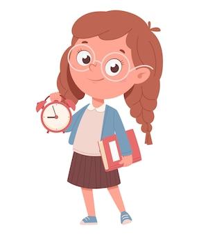 Веселая школьница держит книгу и часы забавный мультяшный персонаж снова в школу концепции