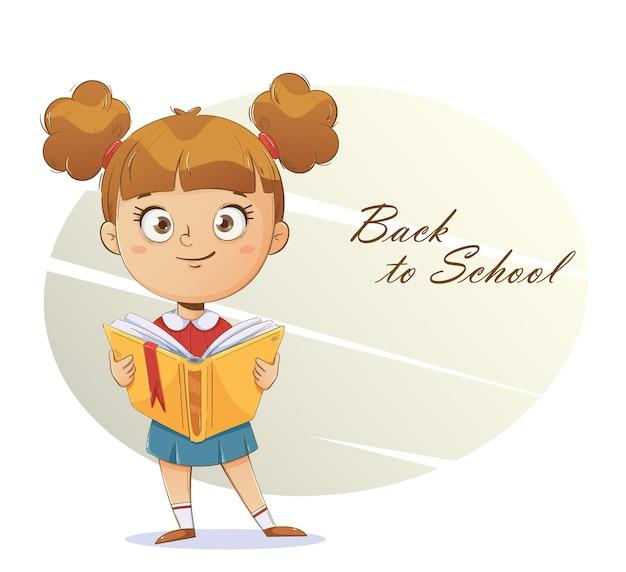 Веселая школьница с книгой забавный мультяшный персонаж снова в школу концепции Premium векторы