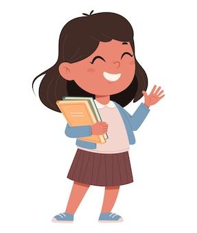 Веселая школьница с книгами милый мультипликационный персонаж обратно в школу концепции