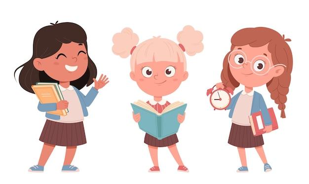Веселые школьницы, набор из трех поз. милые девушки герои мультфильмов. обратно в школу концепции