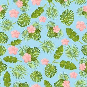 ヤシの木や花から熱帯の緑の葉の陽気なシームレスなパターンの壁紙