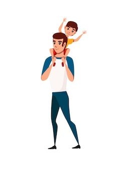 Cheerful smiling father and son cartoon character design flat vector illustration