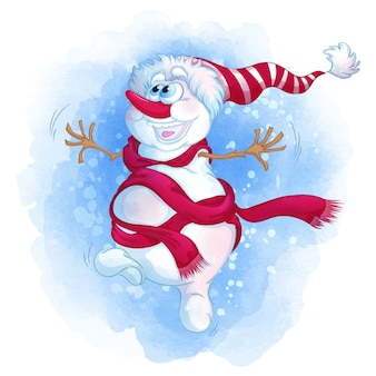 A cheerful snowman in a striped hat and a red scarf is dancing.