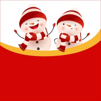 Cheerful snowmen and empty space on red background