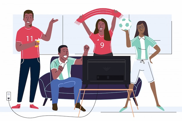 Cheerful soccer game fans friends adult people watching football tv on couch with flags and sport uniform at home vector illustration.
