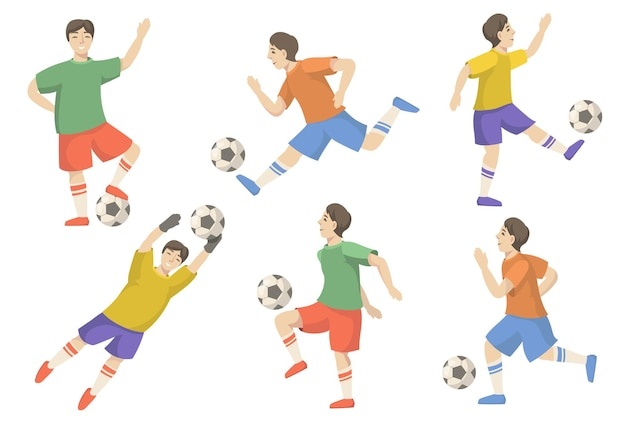 Cheerful soccer players flat illustration set