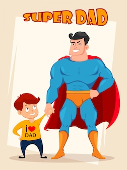 Cheerful son and dad in costume of superhero