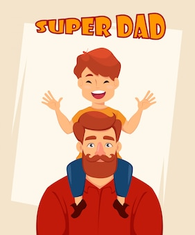 Cheerful son sits on shoulders of his father