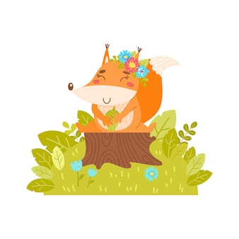 A cheerful squirrel with a wreath of flowers sits on a tree stump. simple illustration on an isolated background.