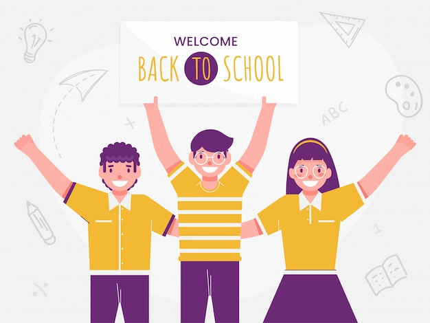 Cheerful student boys and girl holding message board of back to school and education supplies elements decorated white background.