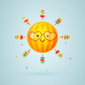 수박 줄무늬와 아이스크림 광선으로 밝은 태양 문자