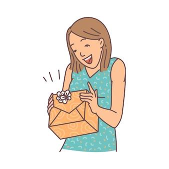 陽気な驚きの女性がギフトボックスを開く、白い背景で隔離の漫画のベクトル図をスケッチします。誕生日プレゼントに満足している若い女の子のキャラクター。