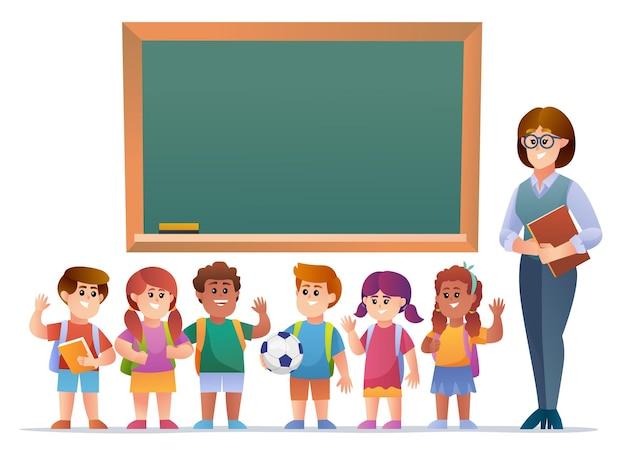 黒板の前で陽気な先生と子供たち