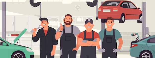Cheerful team of auto mechanics against the background of a car service auto repair station workers