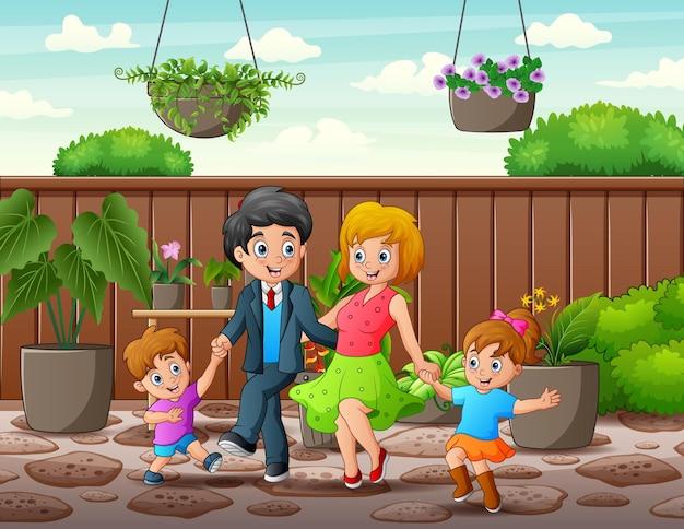 庭で元気な家族