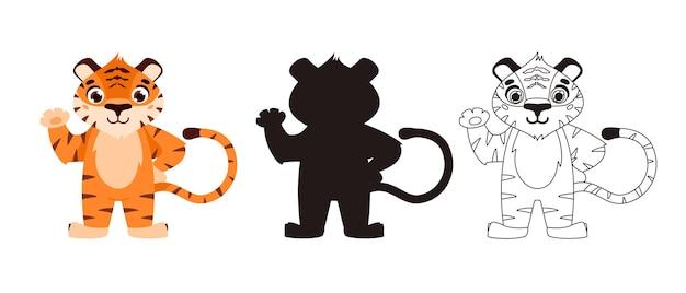 元気な虎中国の旧正月2022年漫画動物シルエット概要ベクトル図