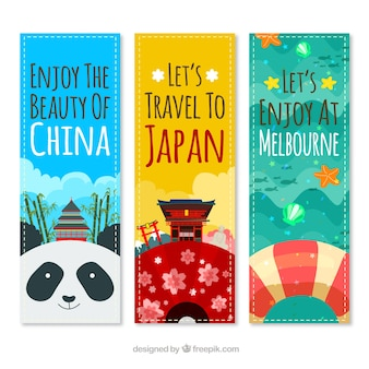 Cheerful travel banners to different places