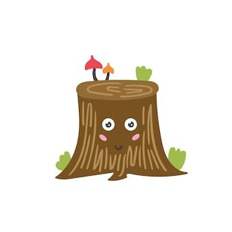 쾌활한 나무 그루터기