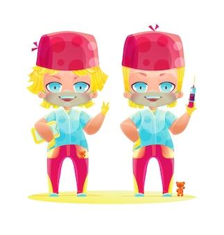 밝은 제복을 입은 의사의 쾌활한 쌍둥이. 만화 만화 및 애니메이션 스타일로 그리기. 밝은 색상의 귀여운 캐릭터