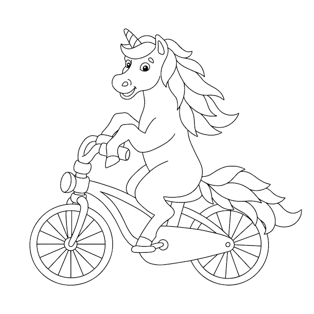 陽気なユニコーンが自転車に乗る子供向けの塗り絵ページ