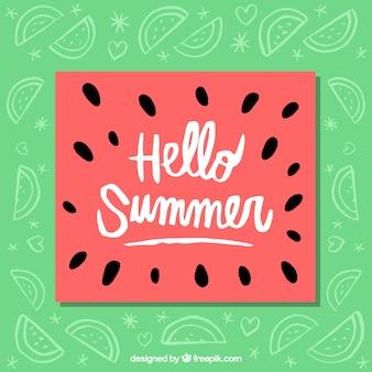 Веселая арбузная летняя открытка