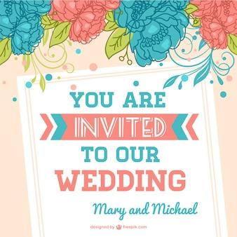 Cheerful wedding invitation with flowers