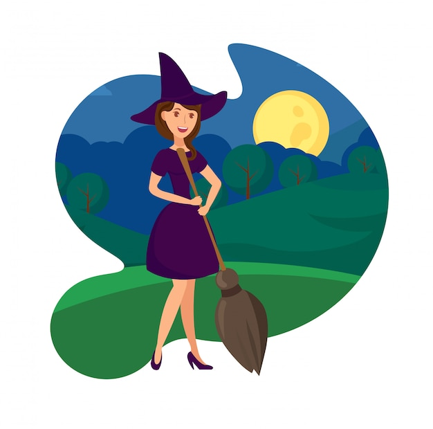 Cheerful witch with broomstick vector illustration