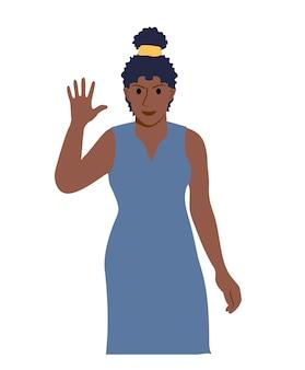 Веселая женщина машет рукой приветственный жест девушка в повседневной одежде делает приветственный жест